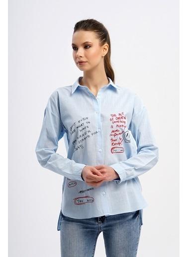 Nismia Karalama Notlar Nakışlı Pamuklu Basic Gömlek Mavi